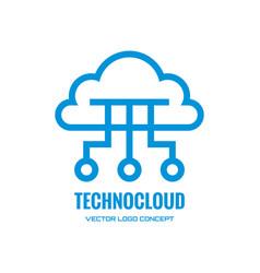 Techno cloud - logo template creative line vector