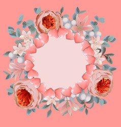 Template with round frame from hearts and pink vector