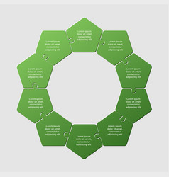 ten pieces puzzle pentagon diagram info graphic vector image