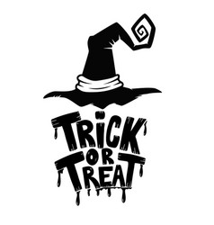 Trick or treat hand drawn lettering phrase vector