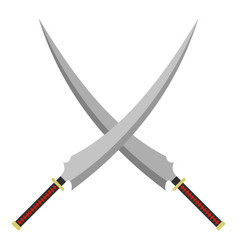 two crossed japanese samurai swords icon isolated vector image