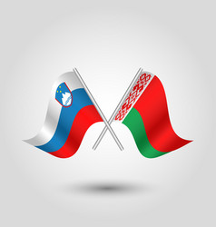 Two crossed slovenian and belarusian flags vector