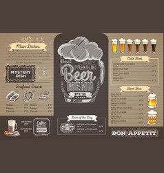 Vintage beer menu design on cardboard restaurant vector