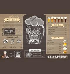 Vintage beer menu design on cardboard restaurant vector