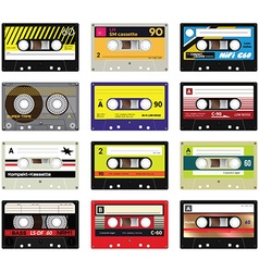 Vintage cassette tapes vol 2 vector image