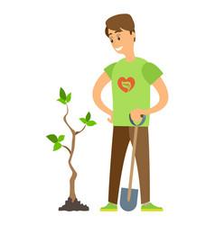 Volunteer seeding plant man holding shovel vector