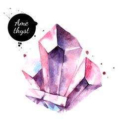 Watercolor hand drawn amethyst gemstone crystal vector