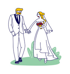 wedding ceremony happy bridal couple characters vector image
