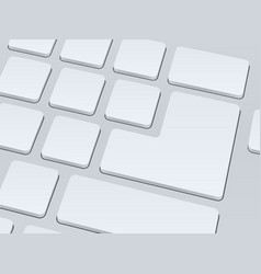 white blank computer keyboard close up image vector image