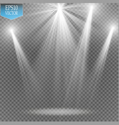 white transparent energy spotlight scene with vector image