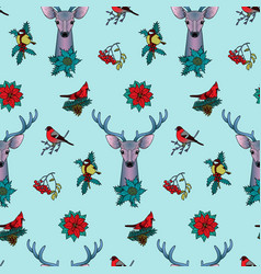 winter colorful seamless pattern with deer and vector image vector image