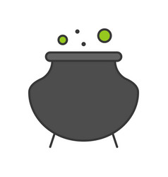 Witch pot or cauldron halloween related icon vector