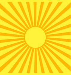 Yellow sun with orange rays vector