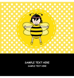 Card girl disguised as a bee vector image