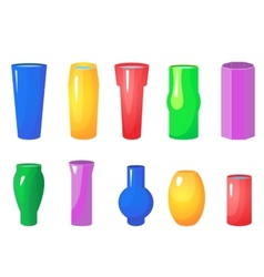 Colorful flowers vases set vector image vector image