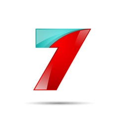 Number seven 7 colorful 3d volume icon design for vector image