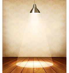 Old room with wooden floor and a spotlight vector image vector image