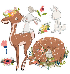set with cute deer and hares vector image vector image