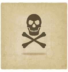 Skull and crossbones old background vector image vector image
