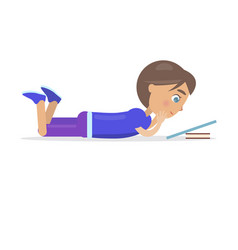 boy in shirt lie on floor and read book vector image vector image