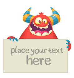 cute little red monster cartoon mascot character vector image