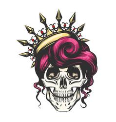 female skull in crown vector image vector image