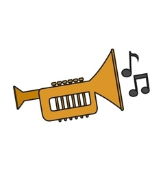 Isolated music note and trumpet design vector