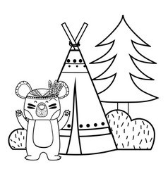 Line bear animal with camp next to bush and pine vector