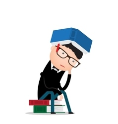 man sits on books and thinks vector image