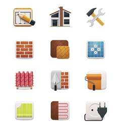 Part one of House renovation icon set vector image vector image
