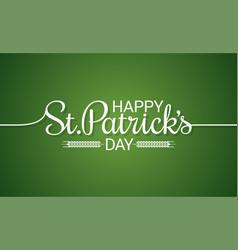 patrick day line vintage lettering background vector image
