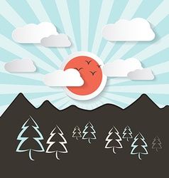Retro Abstract Mountain Landscape with Paper vector image