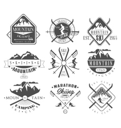 Vintage Skiing Labels and Design Elements Set vector image vector image
