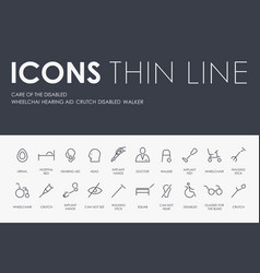 care of the disabled thin line icons vector image