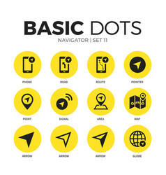 navigator flat icons set vector image