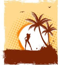 tropic girl grunge vector image vector image