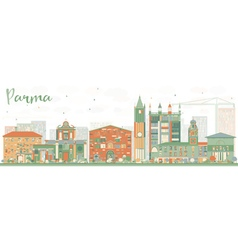 Abstract Parma Skyline with Color Buildings vector image