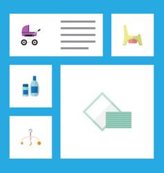 flat infant set of stroller mobile napkin and vector image