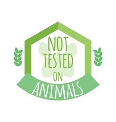 Not tested on animals label or logo vector image vector image