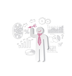 Paper man darts and business graphics Marketing vector image vector image