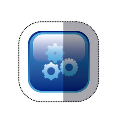 sticker blue square frame with pinions set icon vector image vector image