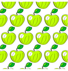 watercolor pattern with apples on the white vector image