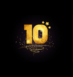 10 ten number icon design with golden star and vector image