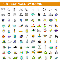 100 technology icons set cartoon style vector