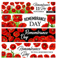 11 november remembrance day banners with poppies vector image