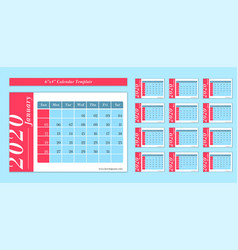 6 x 4 inch horizontal 2020 calendar new year vector