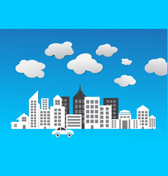 abstract city 3d paper building vector image