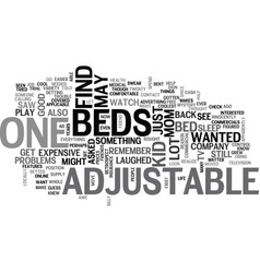Adjustable beds text word cloud concept vector