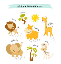 African animals map with trees and footprints vector