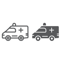 ambulance line and glyph icon medical and car vector image